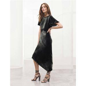 St. John Knits Asymmetric Hem Velvet Midi Dress 4